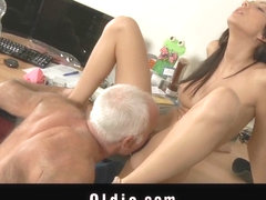 Horny maid fucking his old pervert  owner