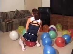 School girl sit to pop