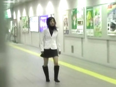Subway station skirt sharking happened to a sexy Asian