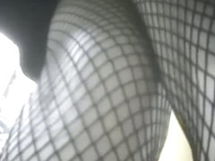 Great little slut with black fishnets in so damn sexy