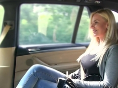 Euro blonde with huge tits bangs in cab