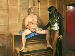 Brunette Hair Dominatrix Copulates Male Villein with Dick