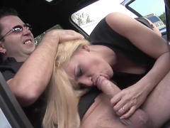 Petite babe fucked in his car