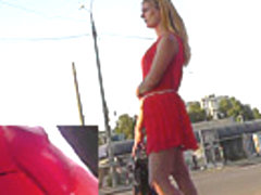 Exciting upskirt view of a sexy blonde hottie