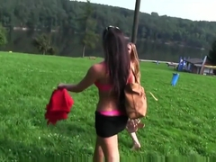 Gorgeous Euro Lezzies Pussylicking Outdoors