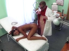 Ebony Isabelle gets seduced by the horny nurse and gets banged by the doctor