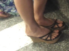 Candid Asian Shoeplay Legs Feet at Airport