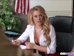 Grabbing big tits of a hot blonde teacher and screwing her juicy pussy