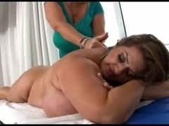 Two fat chicks in a lesbian video involving a strapon