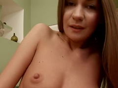 Skinny girl Sweet Lana plays with her dildo