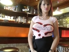 Massive boobs waitress railed by customer for money