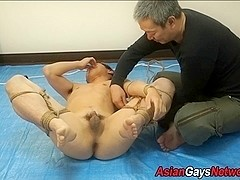 Kinbaku tied asian toyed
