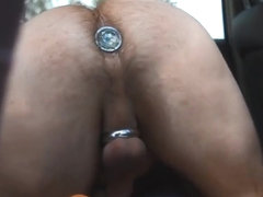 Jacking off and eating cum in broad daylight with a watcher!
