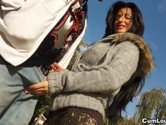 Susy Gala is on her knees engulfing a large penis