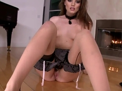 Brunette chick Tori Black is eating her panties