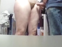 Guy stroking cock to his wife