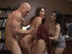 Johnny Sins has nice sex with three chicks