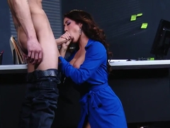 Capri Cavanni and her handsome collegue Criss Strokes have an office sex