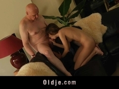 Old husband catches his young wife masturbating