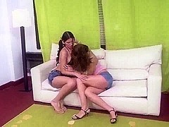 TS and chick fuck on a sofa