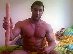 Amateur - Hunk goes deep with his toy.