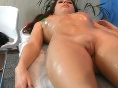 Youthful cutie doing massage bawdy cleft