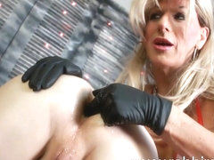 Famous ladyboy Robbi Racks shows ass fingering skills