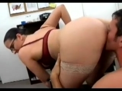 Office fucking scene with horny secretary in nylons