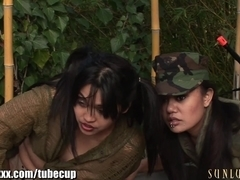 SunLustXXX Army Girls Gangbang with Strapons!