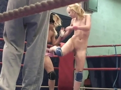 Nude fight club with Nataly Von and Nikky Thorne
