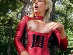 Outdoors in Spandex Catsuit