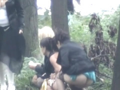 Wedding quest filming these babes taking a piss in the woods