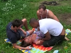 July in gang bang sex porn video filmed in the outdoors