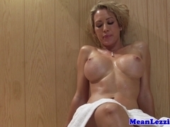 Busty lezdom sauna action with two stunners