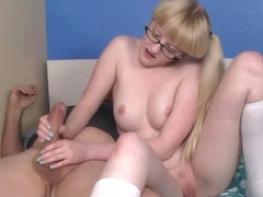 Young spex teen tugging old stepdads cock