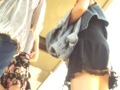 bus stop upskirt in a knee high black skirt tall and slim