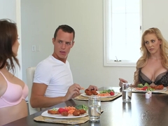 Blonde MILF Cherie Deville and teen Jojo Kiss banged on table