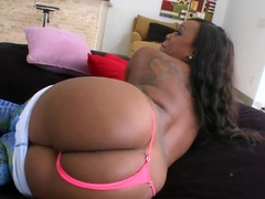 A curvy black lady pleasures a white boy
