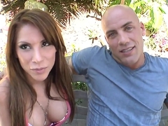 Alexa Nicole loves having lusty outdoor activities with bald stud.
