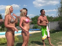 Pool orgy with Euro girls