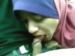 Malay hijab girl suck in car