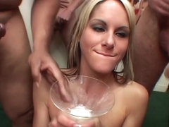 Big glass of cum for Courtney Simpson