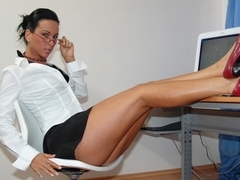 Office skank Lucky gets impaled on colleague dick