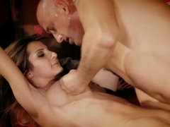 Cute brunette Alice Romain is experiencing rude fuck with some bald giant cocked dude at her home.