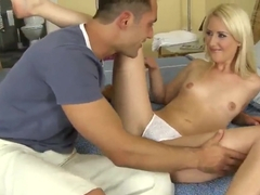 Amazing blonde Candy Sweet fucks with her girlfriends boy