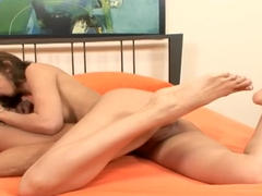 Shy Love gets her shaved cunt nailed and gives head, then a foot job