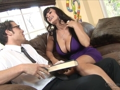 Milf with really big bosoms does blowjob to horny lover
