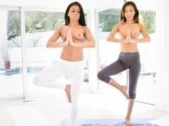 Alina Li & Adriana Chechik in Naked Yoga Video