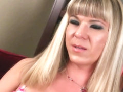 Big tit blonde shemale Lora Hoffman jerking off