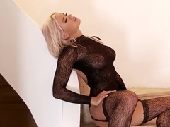 Ashley Bulgari fingering and dildoing on stairs